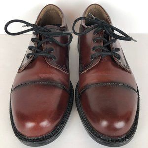 Dockers Mens Brown Leather Oxford Cap Toe Shoes 10